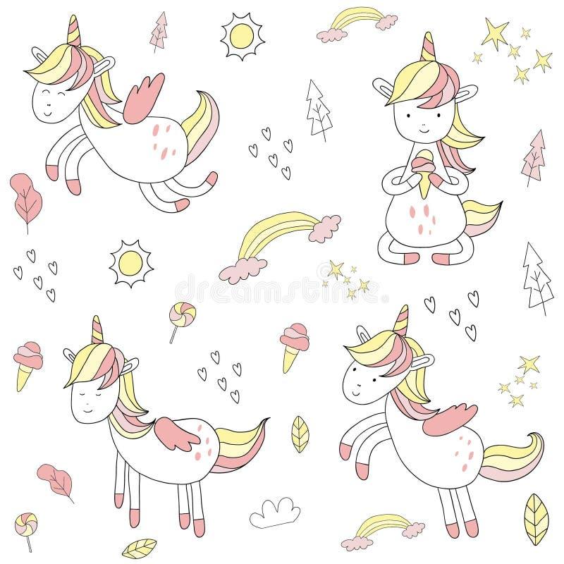 Cute hand drawn unicorn vector illustration