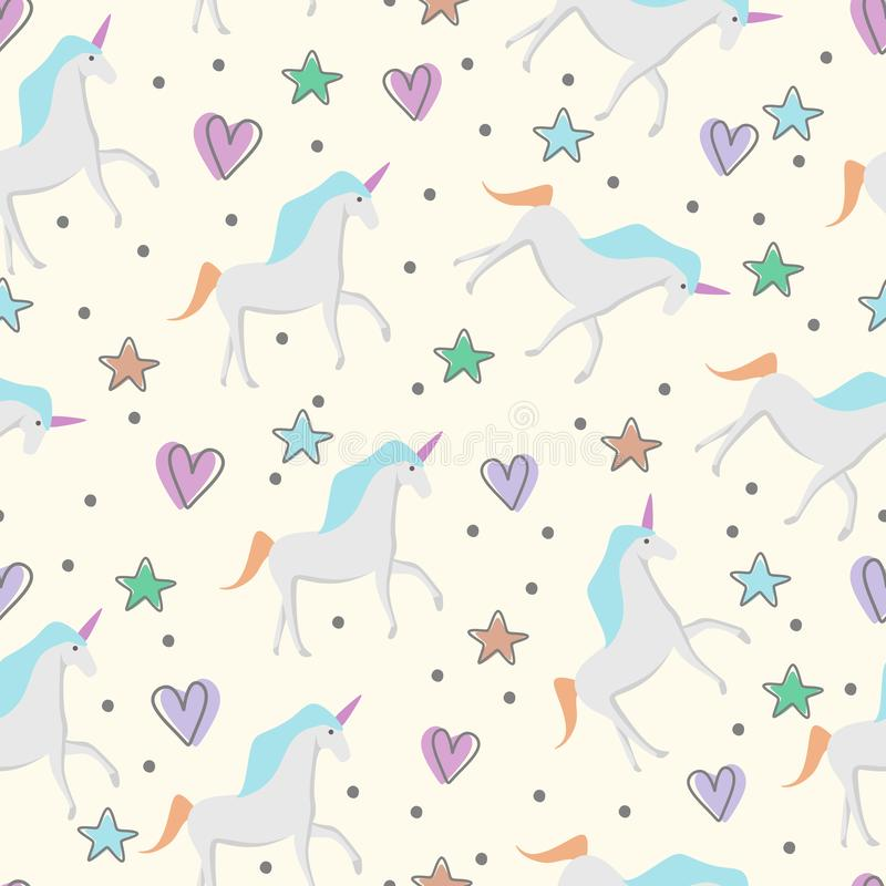 Cute hand drawn unicorn seamless pattern for kids and baby fashion textile print stock illustration