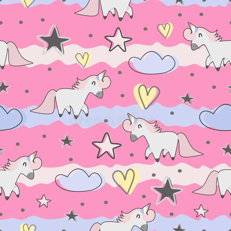 Cute hand drawn unicorn seamless pattern for kids and baby fashion textile print. Vector magic doodle illustration pink space sweet universe animal background vector illustration