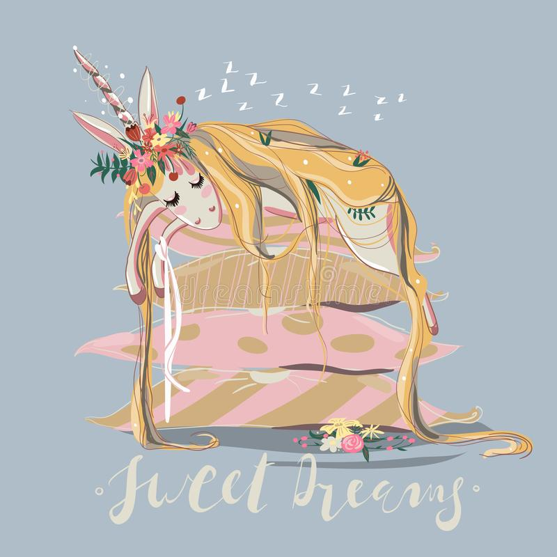 Cute, hand drawn unicorn sleeping dreaming on big stack of pillows stock photos