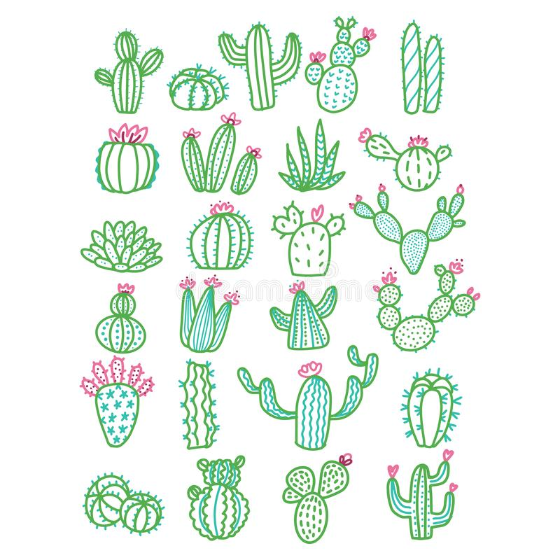 Cute hand drawn vector cactus without pots color outlined illustration. Set of cute hand drawn green line cacti with pink flowers vector illustration