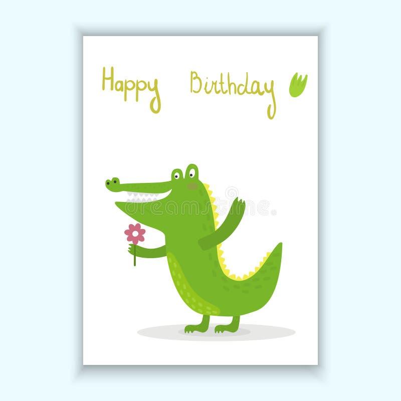 Cute hand drawn vector card with funny cute crocodile cartoon style. Printable template. stock illustration