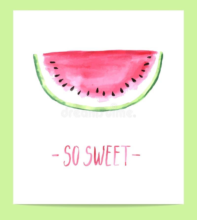 Cute hand drawn watercolor watermelon slice. Vector illustration vector illustration