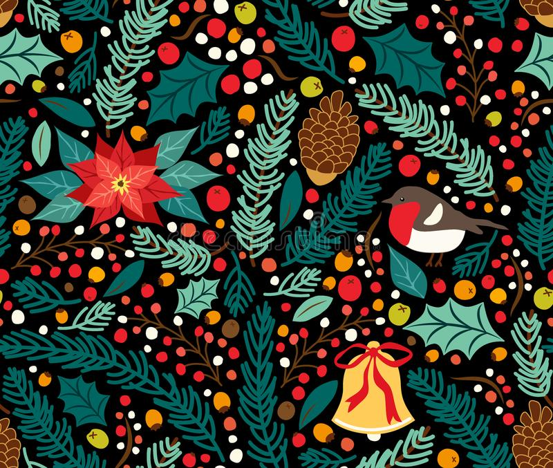 Cute hand drawn winter holidays seamless pattern vector illustration