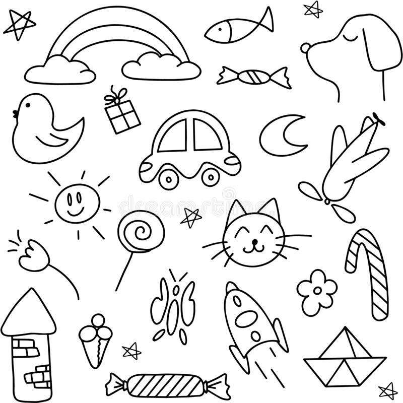 Free Cute Handmade Icons For Kids And Preschoolers. Icon Car, Cat, Dog, Candy, Tower, Rainbow, Moon, Sun, Tower, Plane, Rocket. Vector Royalty Free Stock Images - 194998219