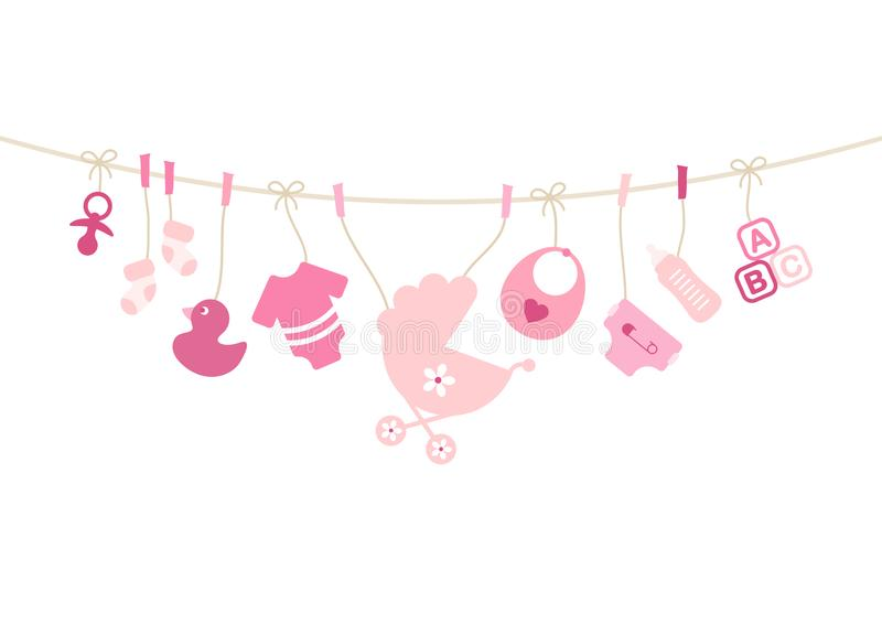 Hanging Baby Icons Girl Bow Pink And Beige stock illustration