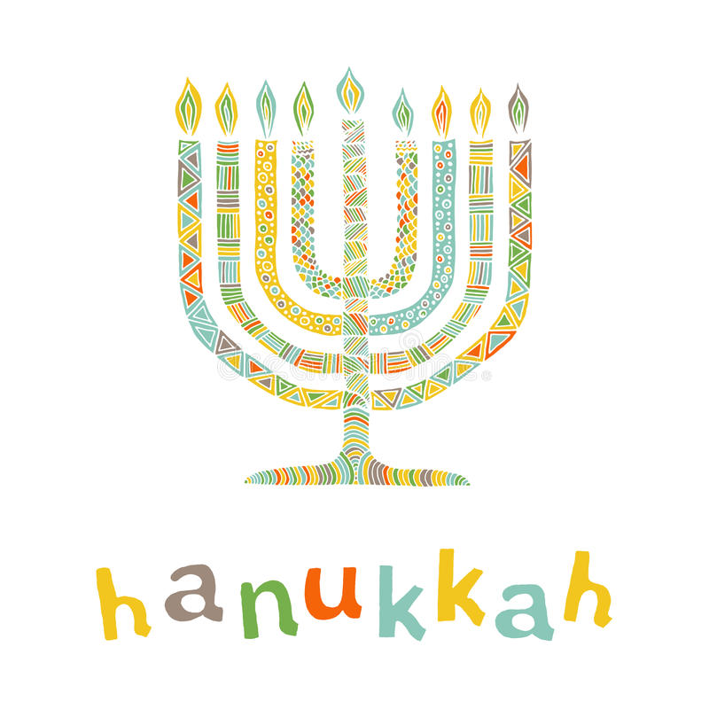 Cute Hanukkah greeting card, invitation. With hand drawn menorah -candelabra and lettering, vector illustration background vector illustration