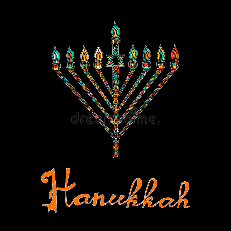 Cute Hanukkah greeting card, invitation. With hand drawn menorah -candelabra and lettering, vector illustration background stock illustration