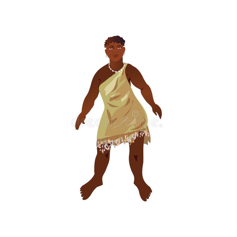 Cute happy african aborigine in cute national textile clothes. Ready for dance. Cartoon style. Vector illustration on white background vector illustration