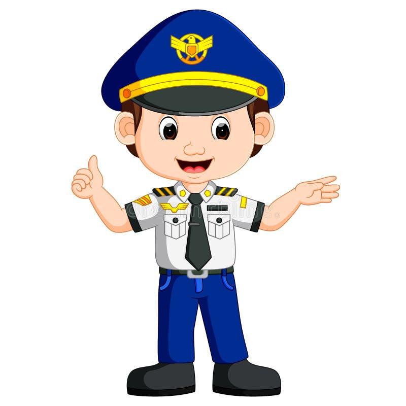 Cute happy airplane pilot waving vector illustration