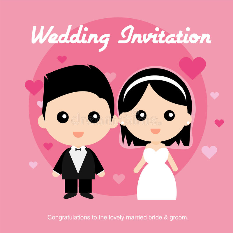 Cute happy Asian groom and bride vector illustration