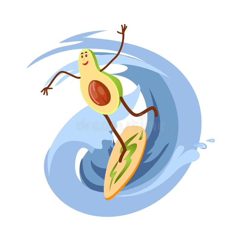 Cute happy avocado character is surfing on ocean wave royalty free illustration