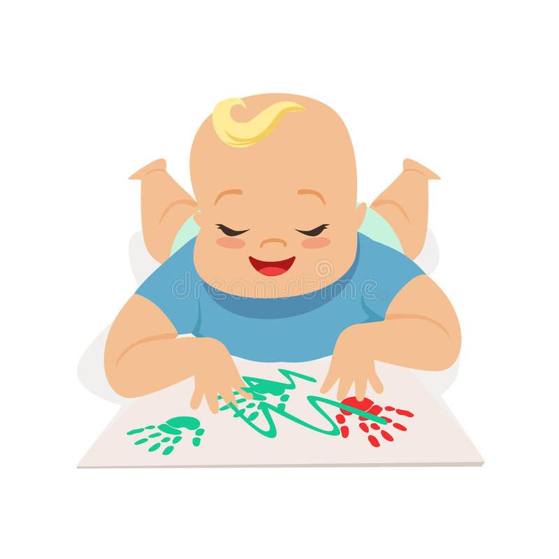 Cute happy baby boy painting by hands, colorful cartoon character vector Illustration vector illustration
