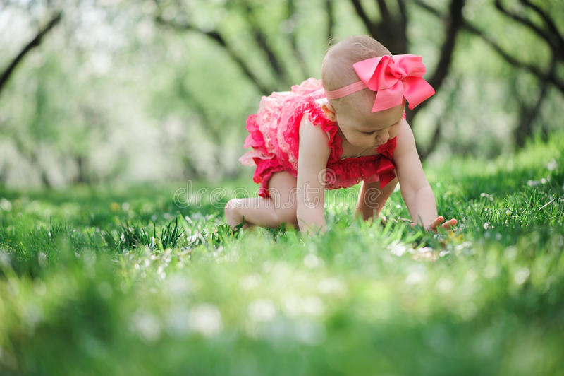 Cute happy baby girl in funny pink romper walking outdoor in spring garden stock photography