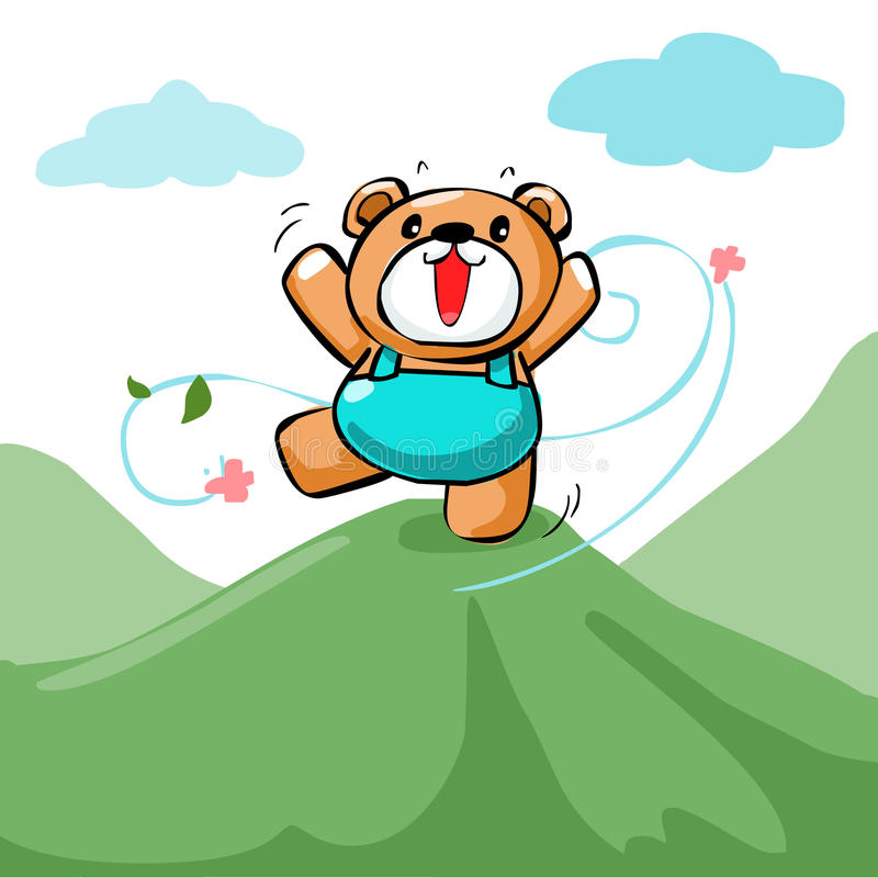 Free Cute Happy Bear Stand On The Mountain Stock Photos - 56384663