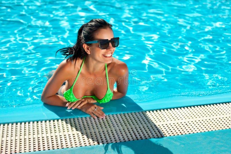 Download Cute Happy Bikini Woman With Nice Breast In Swimming Pool Stock Photo - Image: 34852488