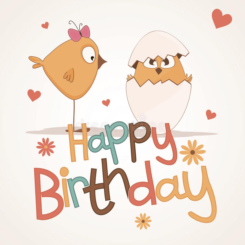 Download Cute happy birthday card. stock vector. Image of candle - 25656888