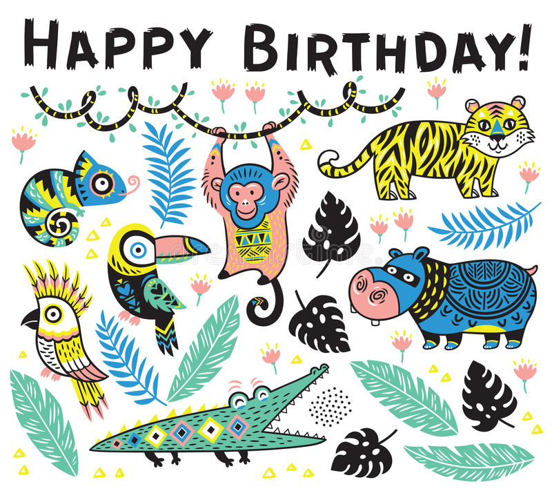 Cute happy birthday card with cartoon animals in the jungle royalty free illustration