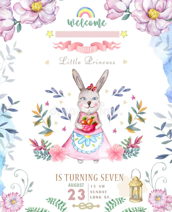 Cute happy birthday card with cartoon Bunny. Watercolor rabbit clip art and beauty boho pink flowers, floral. lamp light and leaf vector illustration