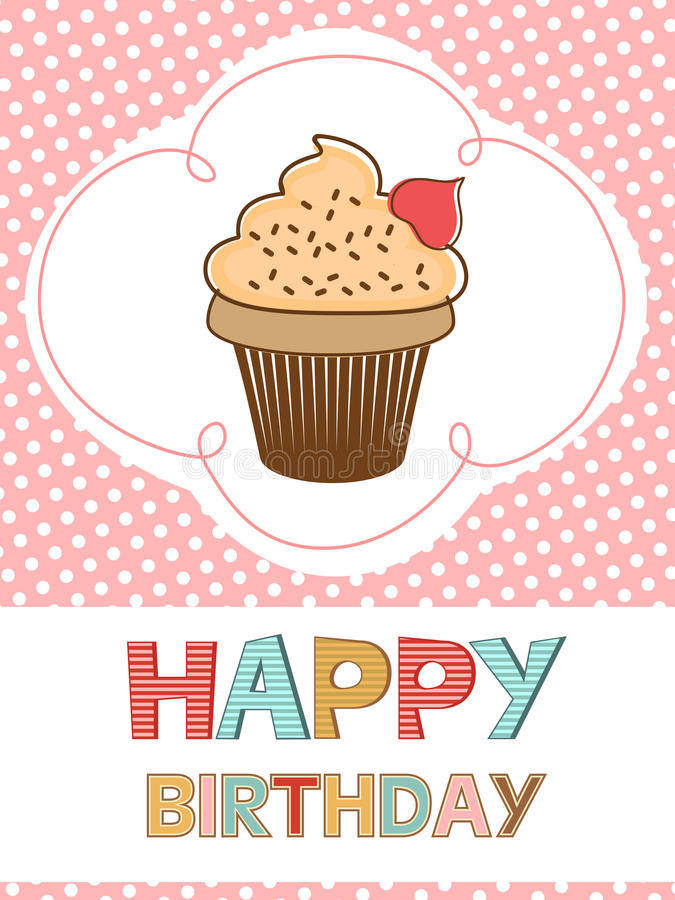 Cute Happy Birthday Card With Creamy Cupcake Royalty Free