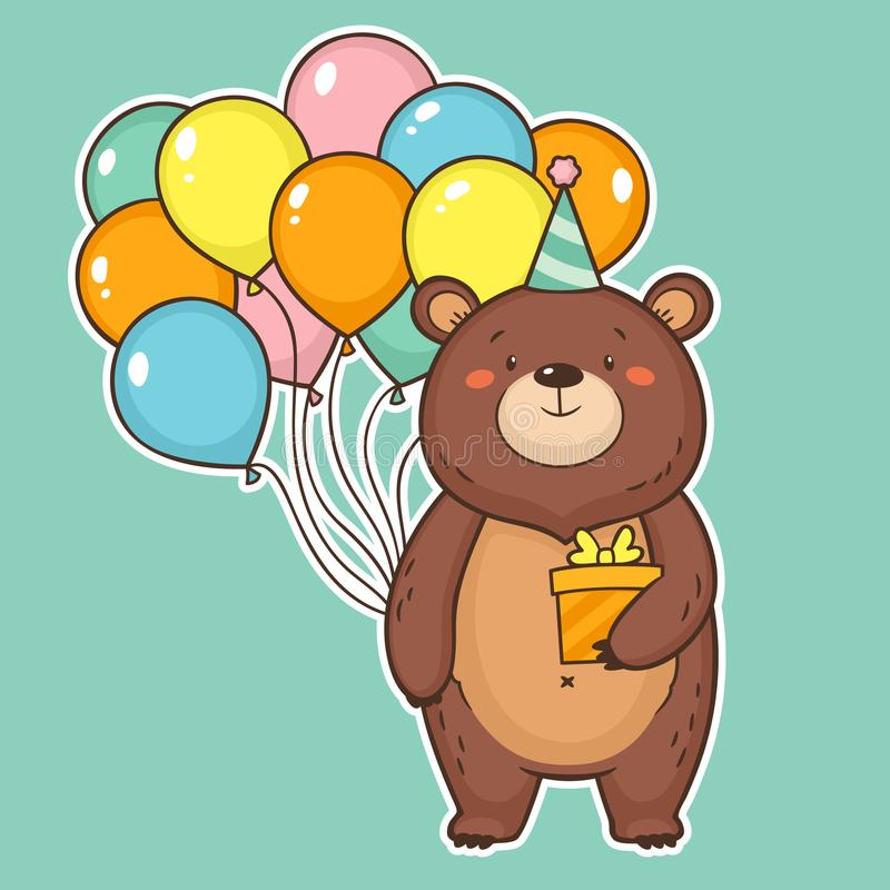 Cute happy birthday card with funny bear holding air balloons vector illustration