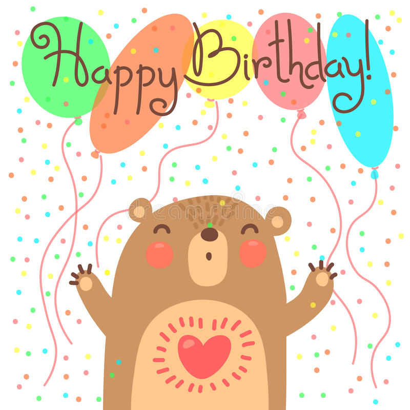 Cute happy birthday card with funny bear. royalty free illustration