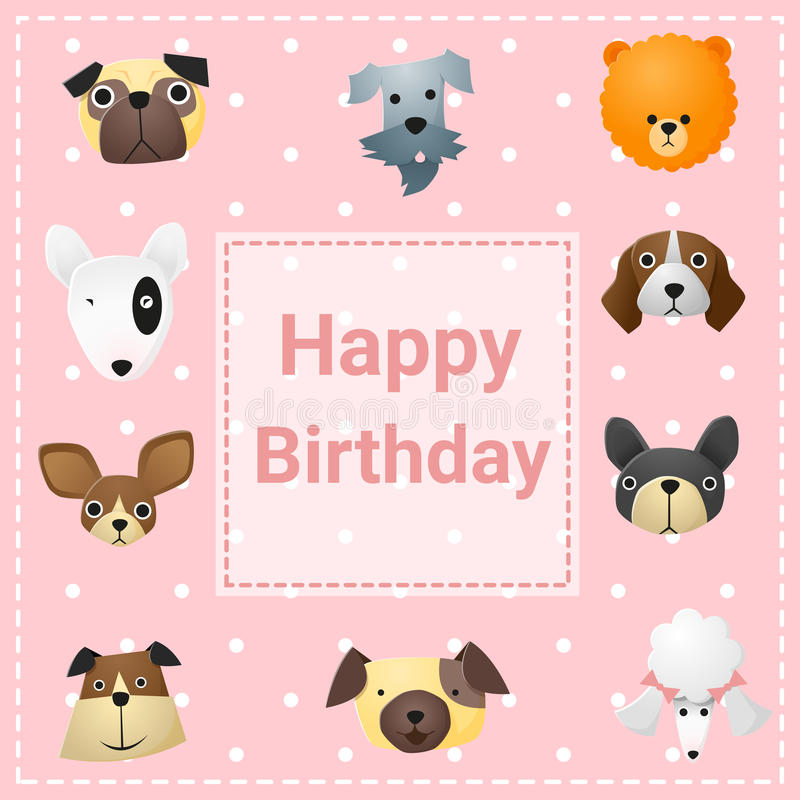 Cute Happy Birthday Card With Funny Dogs Stock Vector Illustration