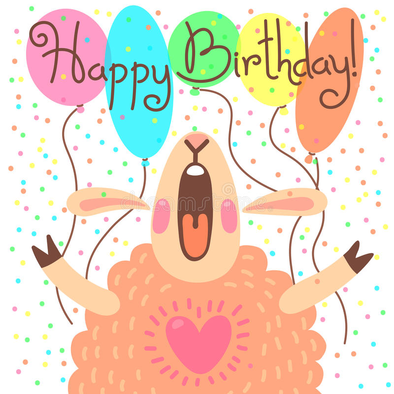 Cute Happy Birthday Card With Funny Lamb Stock Vector