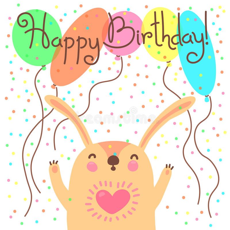 Cute happy birthday card with funny leveret. stock illustration