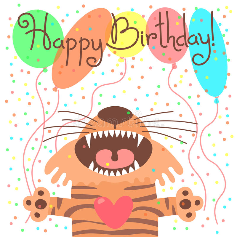 Cute happy birthday card with funny tiger. vector illustration