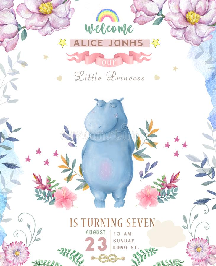 Cute happy birthday card with hippo. watercolor hippo and beauty pink flowers, floral and leaf for greeting card.  stock illustration