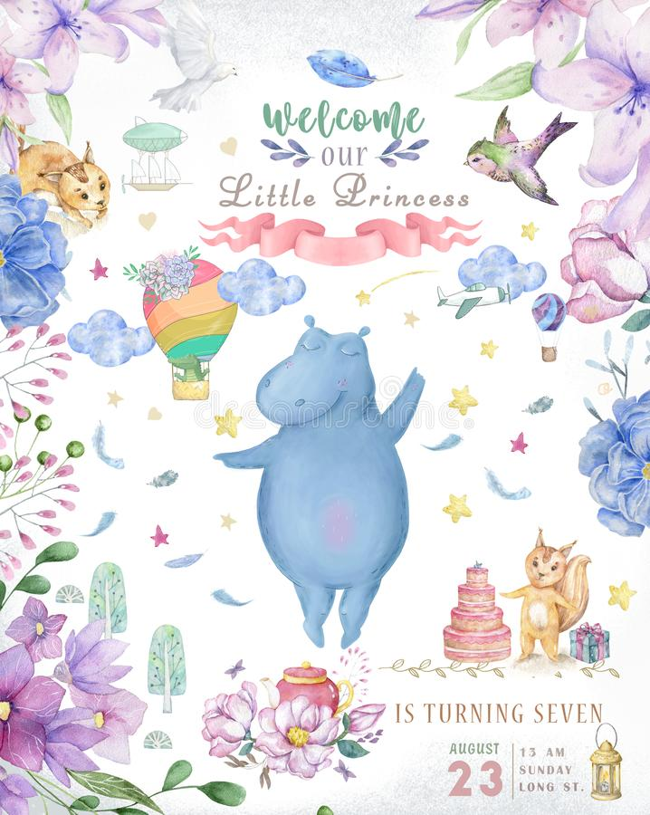Cute happy birthday card with hippo. watercolor hippo and beauty pink flowers, floral and leaf for greeting card.  vector illustration