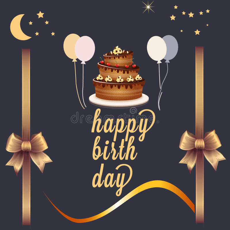 Cute happy birthday card royalty free illustration