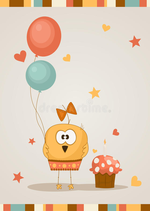 Cute happy birthday card. Vector illustration royalty free illustration