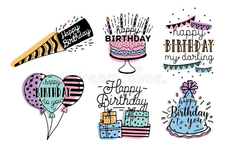 Cute happy birthday greetings inscriptions design collection. Colorful hand drawn lettering vector illustration set on royalty free illustration
