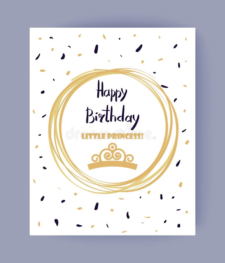 Cute Happy Birthday, Little Princess Color Banner. Vector illustration with text sample isolated in abstract circle, pretty pattern, lot of confetti stock illustration