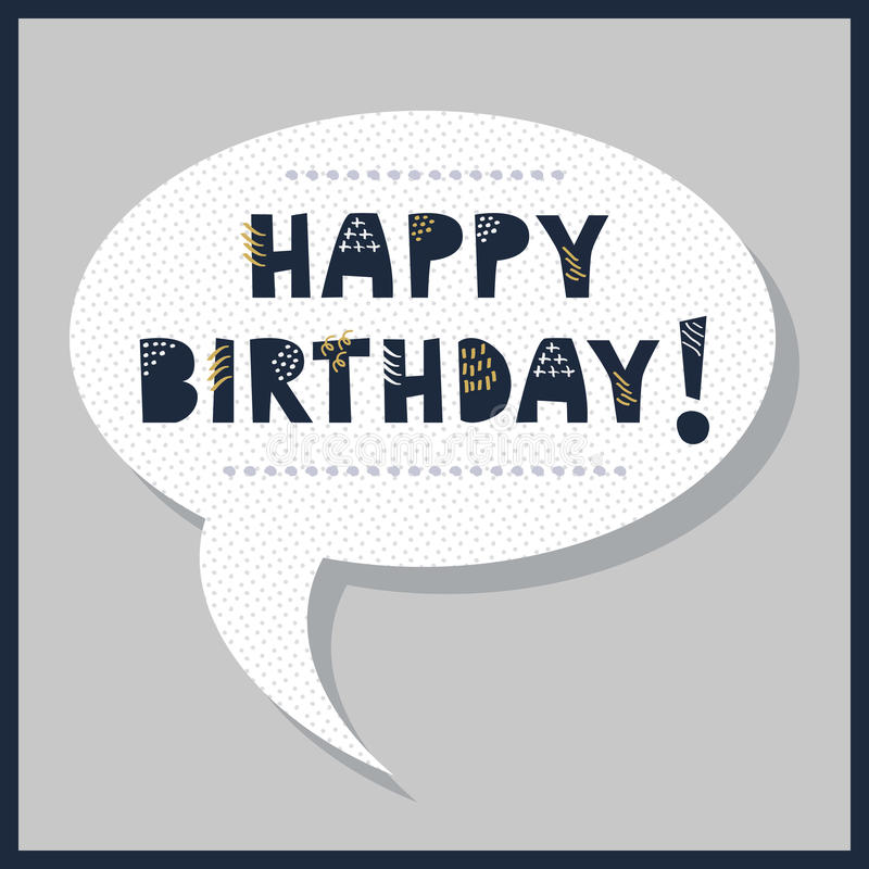 Download Cute Happy Birthday Speech Bubble Message With Dotted Pattern Stock Vector