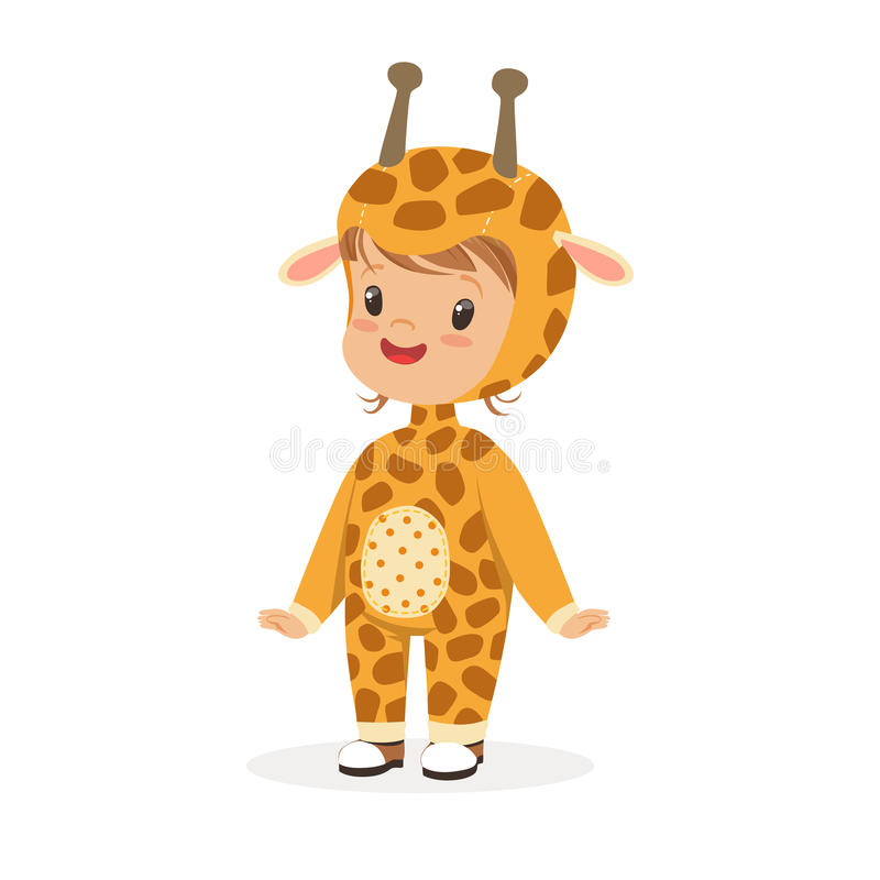 Cute happy boy dressed as a giraffe, kids carnival costume vector Illustration. Isolated on a white background vector illustration