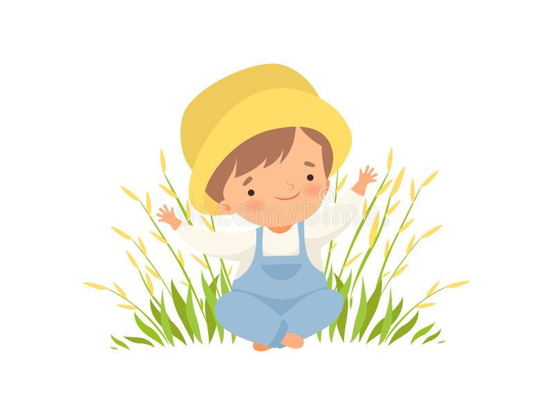 Cute Happy Boy Sitting on Green Meadow, Adorable Little Kid Cartoon Character Playing Outside Vector Illustration stock illustration