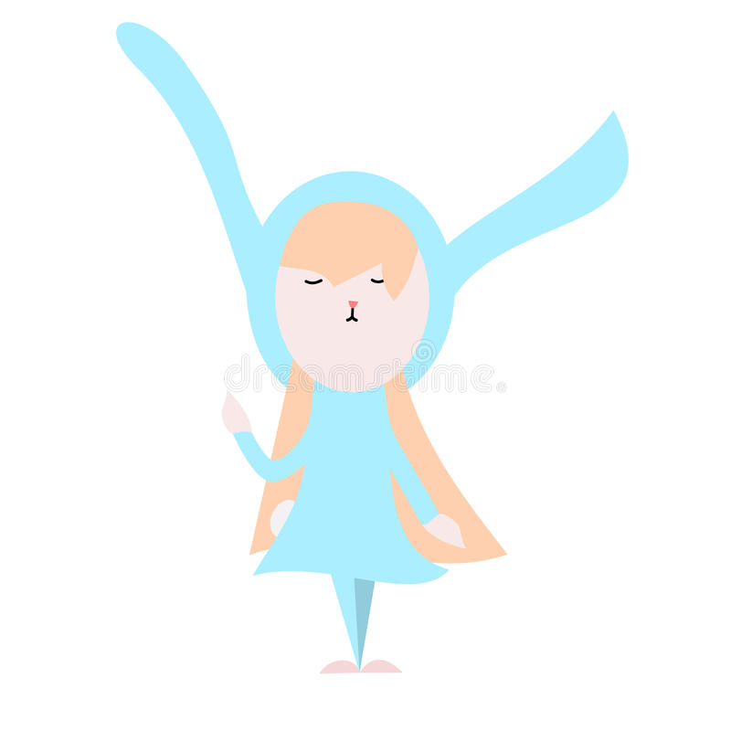 Cute happy bunny in light blue dress illustration on a white background royalty free stock image