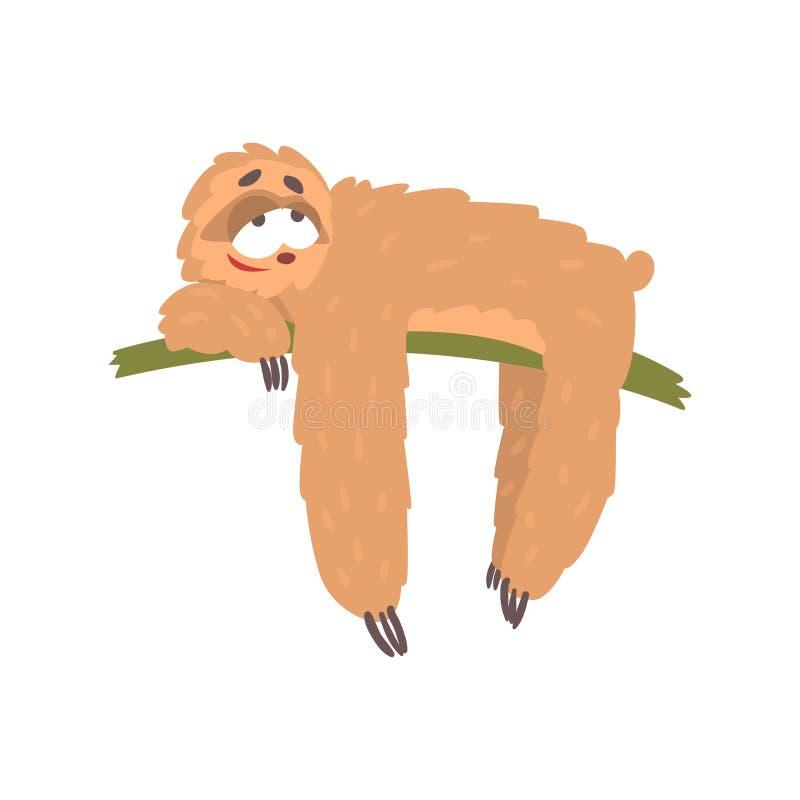 Cute happy cartoon lazy sloth character lying on the tree, funny tropical animal vector Illustration. On a white background vector illustration