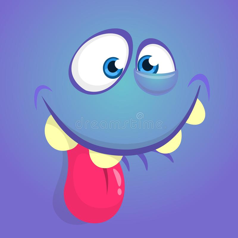Cute happy cartoon monster face with big eyes showing tongue. Vector Halloween blue monster. Cute happy cartoon monster face with big eyes showing tongue vector illustration
