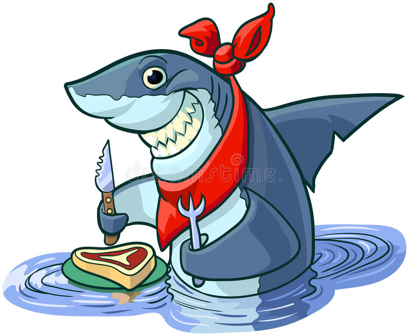 Cute Happy Cartoon Shark with Steak and Eating Utensils royalty free illustration