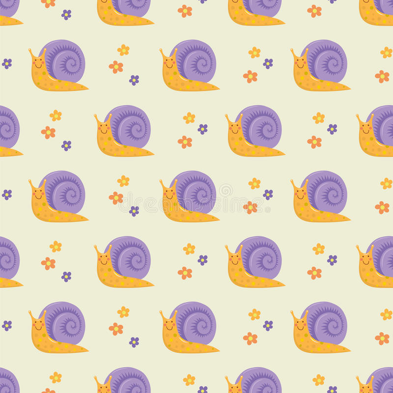 Cute happy cartoon snails seamless pattern royalty free illustration