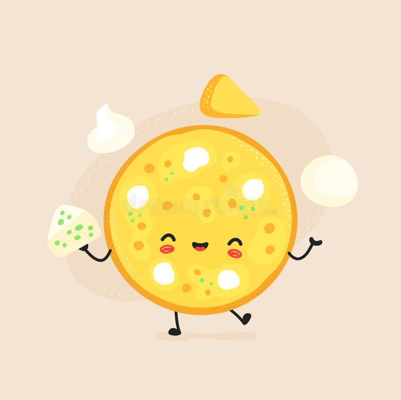 Cute happy cheese pizza character. vector illustration