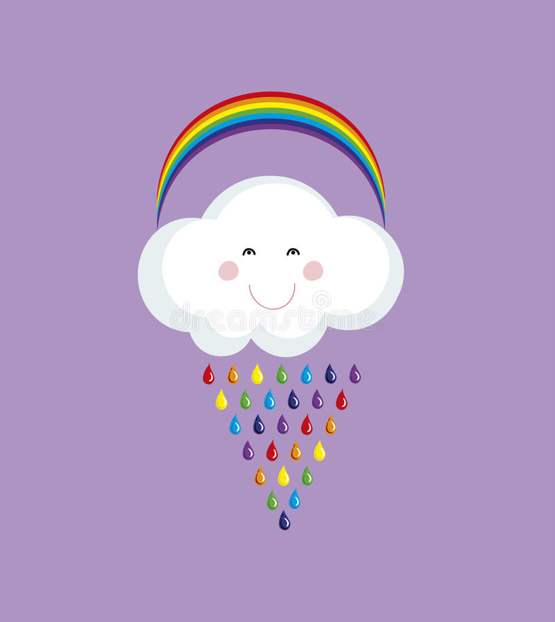 Cute happy cloud with colorful rain drops.Rainbow vector background. stock illustration