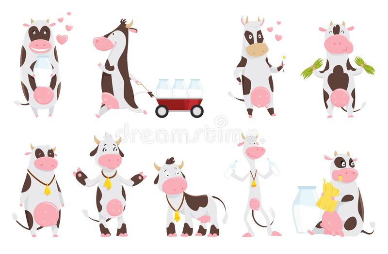 Cute happy cow collection cartoon with milk bottle. Cow eating grass, funny farm animal cartoon character. Happy cow set royalty free illustration