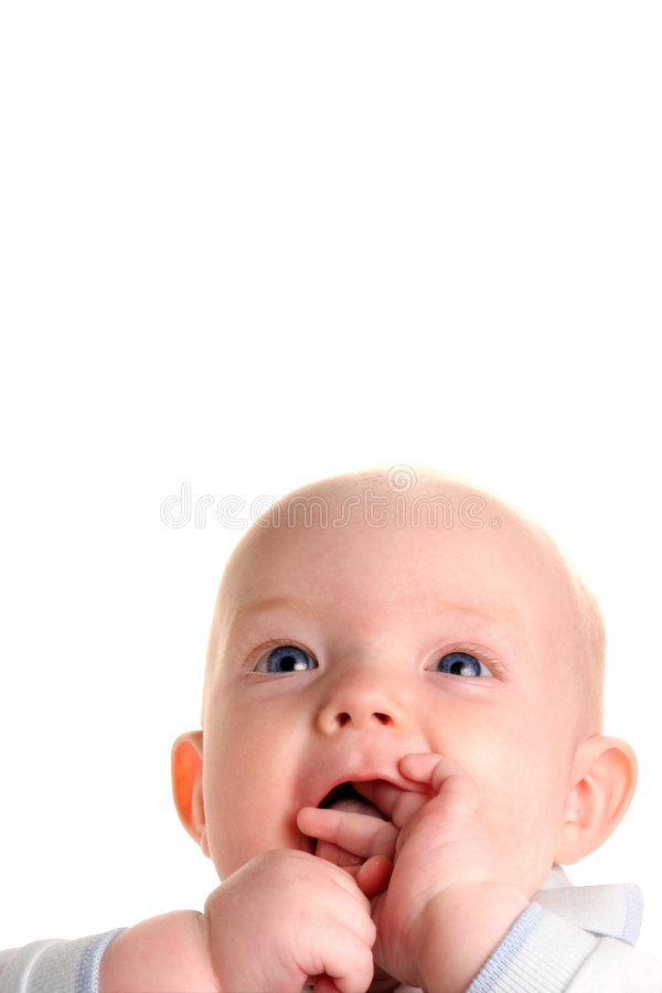 Cute happy curious baby stock image