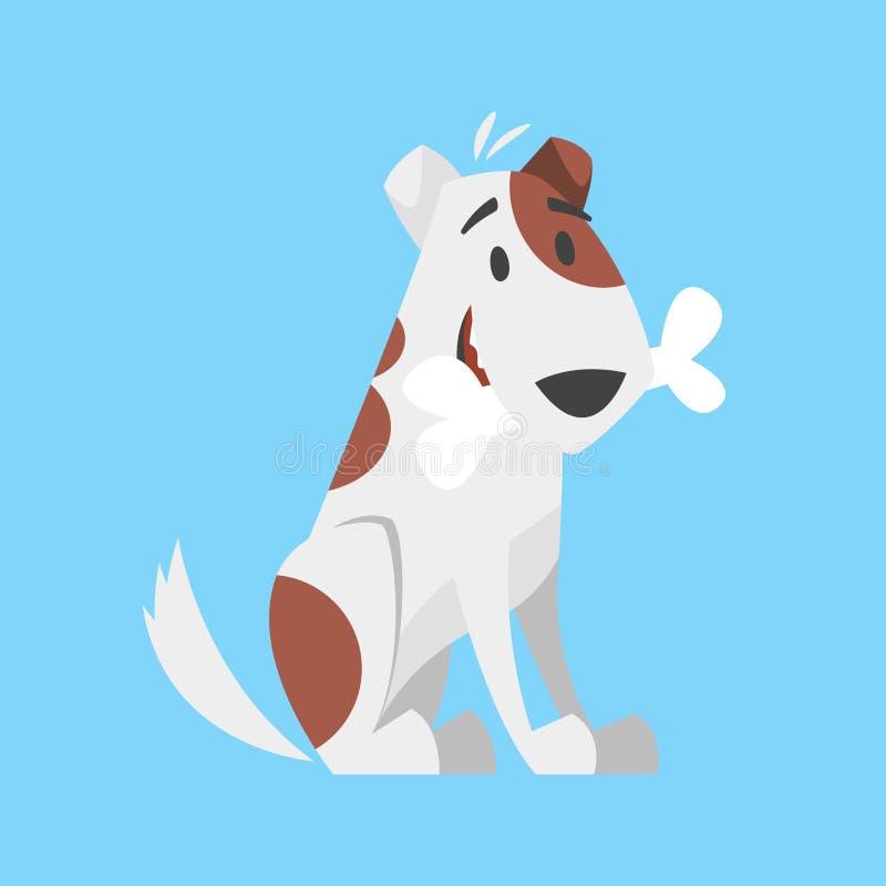 Cute happy dog holding bone vector illustration