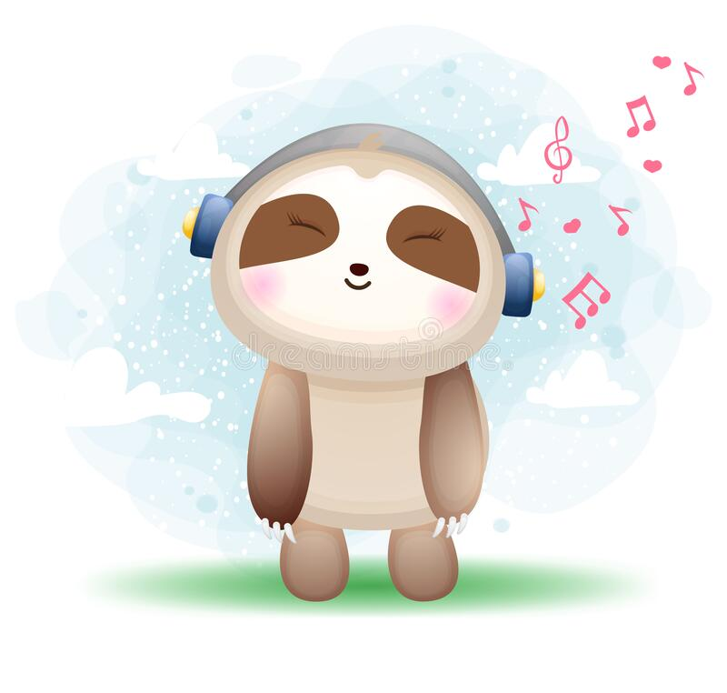 Free Cute Happy Doodle Sloth Listening Music Cartoon Character Premium Vector Royalty Free Stock Image - 214826486